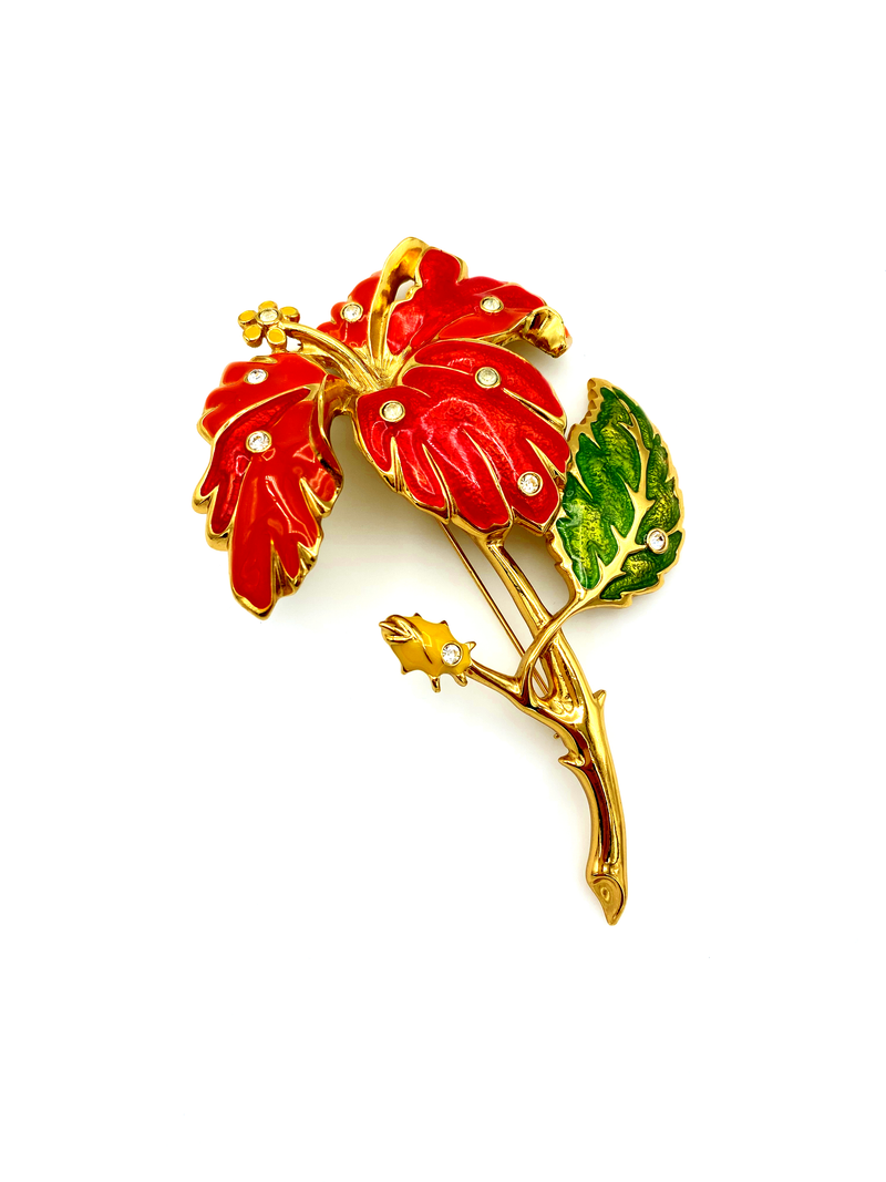Jose Maria Barrera Large Gold Orange Enamel Flower Statement Brooch