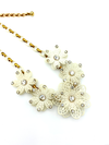 Vintage White Plastic & Rhinestone Flower Necklace-Sustainable Fashion with Vintage Style-Trending Designer Fashion-24 Wishes