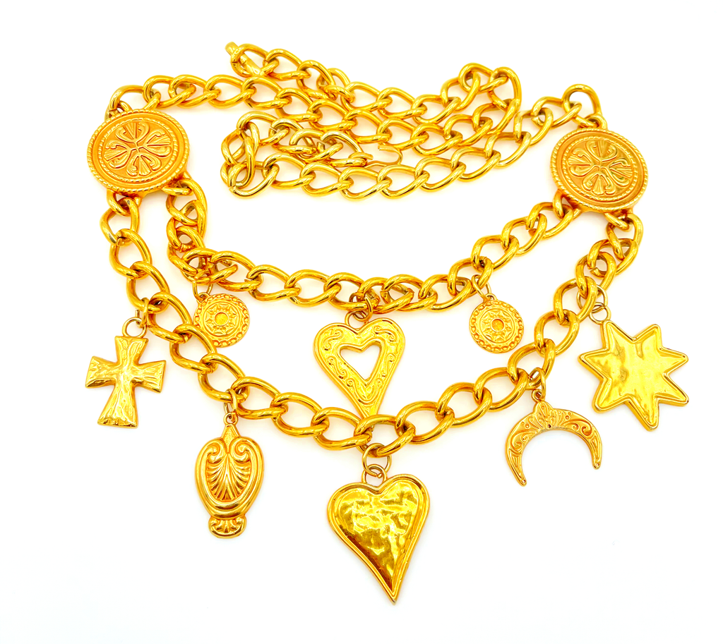 Gold Escada Double Chain Charm Vintage Bib Belt