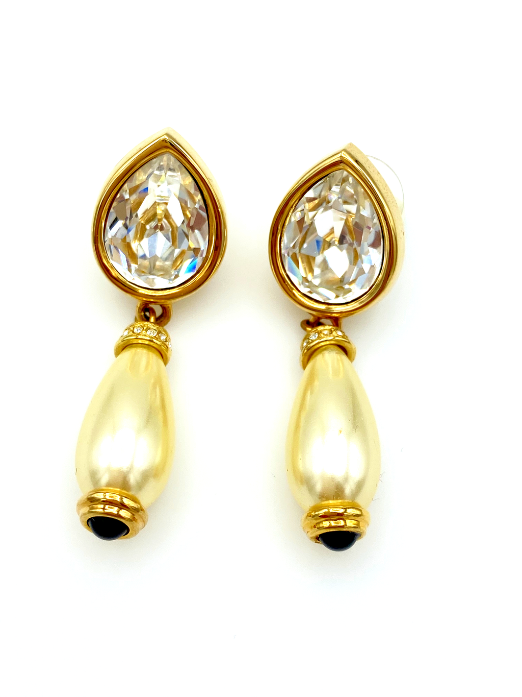 Swarovski Teardrop Crystal & Pearl Dangle Vintage Gold Earrings-Sustainable Fashion with Vintage Style-Trending Designer Fashion-24 Wishes