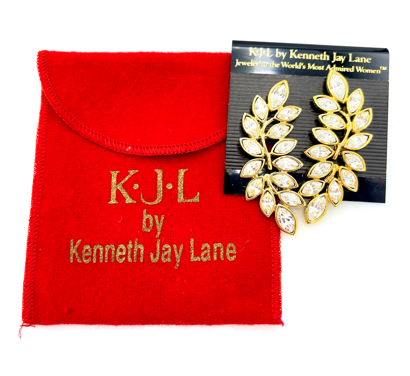 Kenneth Jay Lane Gold Clear Crystal Leaf Rhinestone Clip-On Earrings