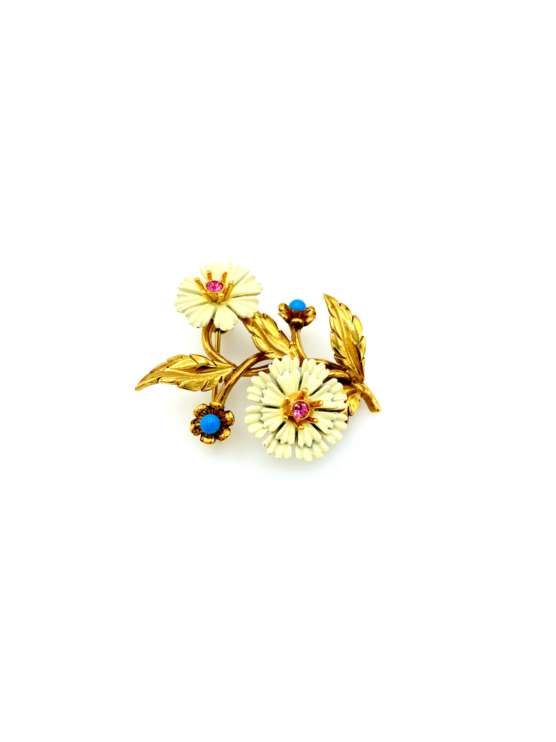 Joan Rivers White Daisy Flower Vintage Brooch-Sustainable Fashion with Vintage Style-Trending Designer Fashion-24 Wishes