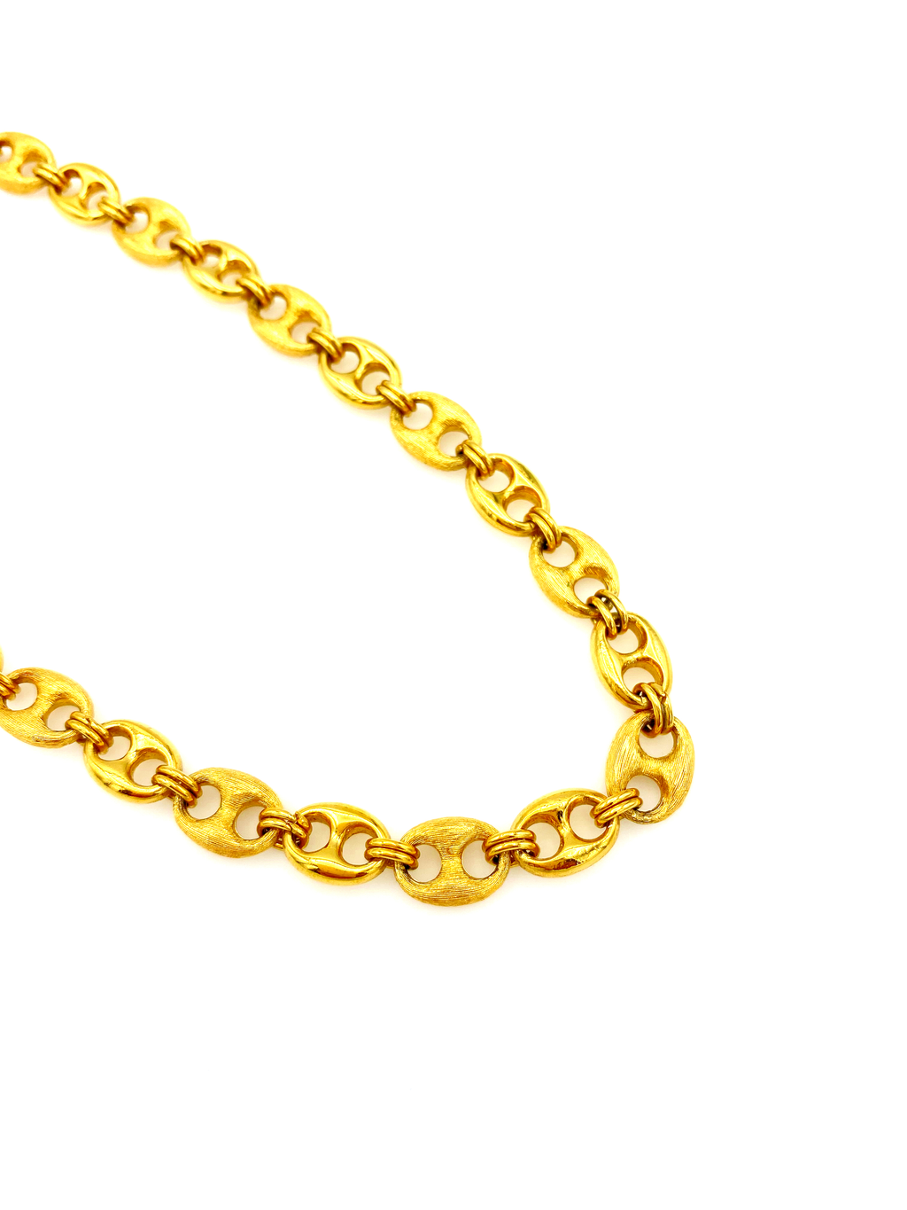 Gold Trifari Layering Mariner Link Chain Necklace-Sustainable Fashion with Vintage Style-Trending Designer Fashion-24 Wishes