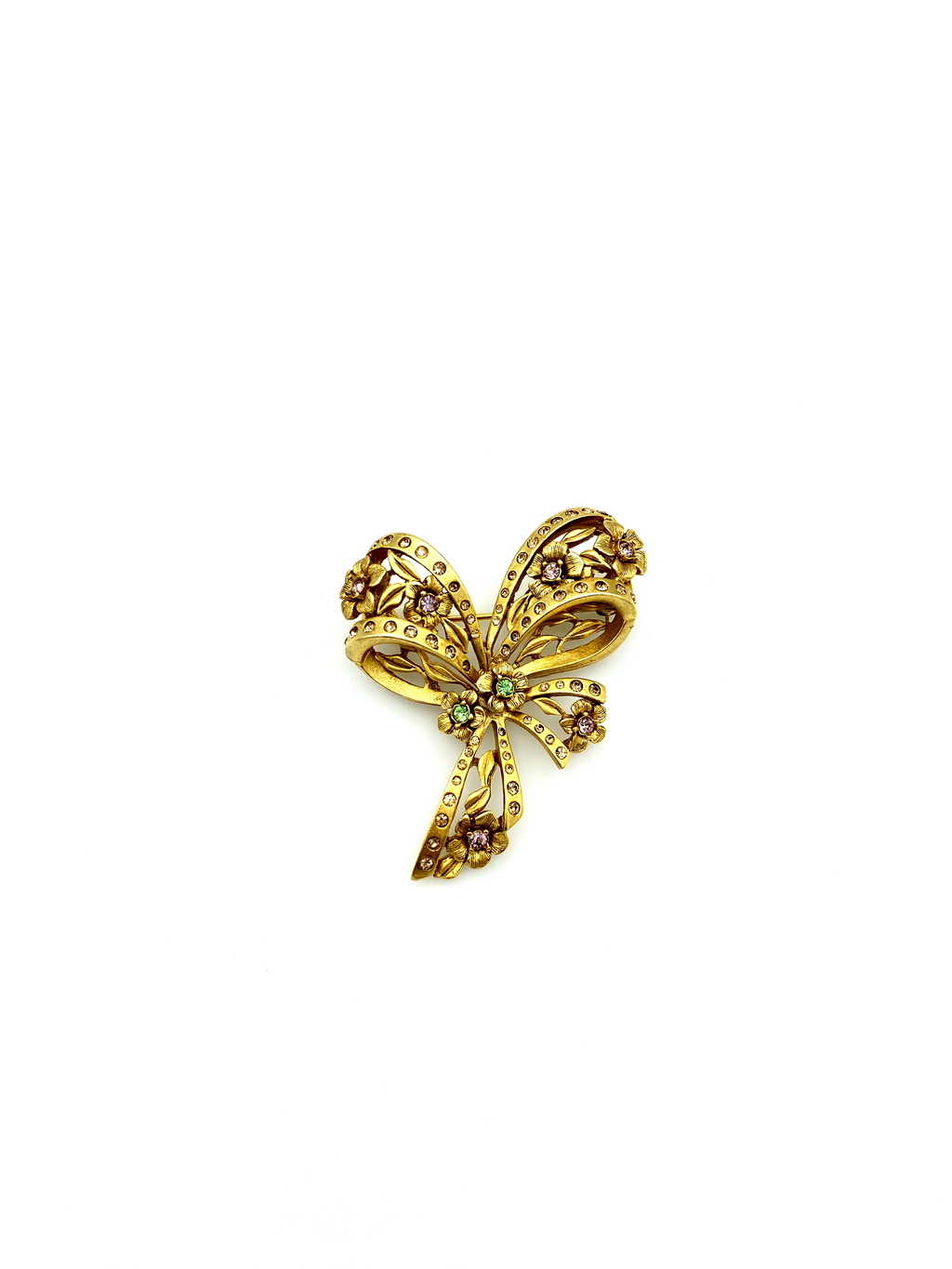 Gold Oscar De La Renta Feminine Bow & Flowers Brooch-Sustainable Fashion with Vintage Style-Trending Designer Fashion-24 Wishes