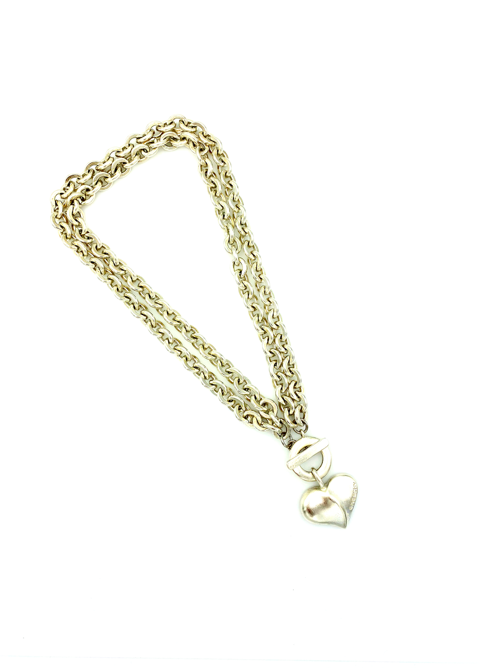 Givenchy Matt Silver Double Chain Heart Vintage Pendant-Necklaces & Pendants-Givenchy-[trending designer jewelry]-[givenchy jewelry]-[Sustainable Fashion]