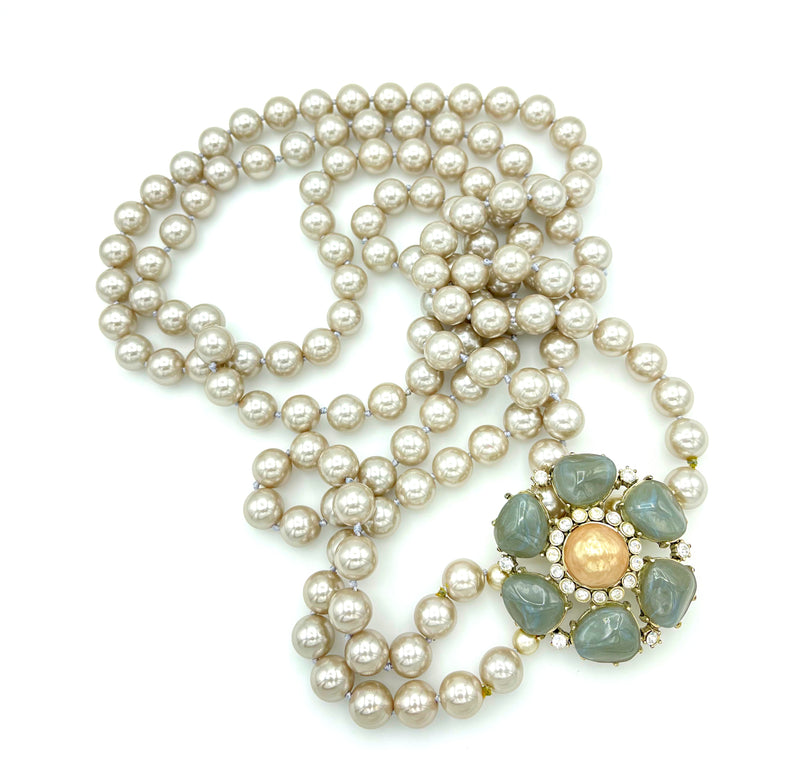 Gerard Yosca Double Strand Long Gray Pearl Necklace