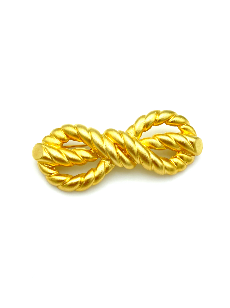 Matt Gold Rope Bow Classic Vintage Brooch by Mimi di N-Sustainable Fashion with Vintage Style-Trending Designer Fashion-24 Wishes
