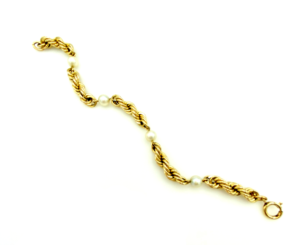 12K Gold Filled Rope Chain & Pearl Layering Bracelet