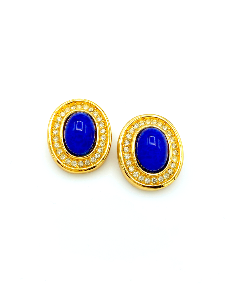 update alt-text with template Christian Dior Gold Blue Lapis Rhinestone Vintage Clip-On Earrings-Earrings-Christian Dior-[trending designer jewelry]-[christian dior jewelry]-[Sustainable Fashion]