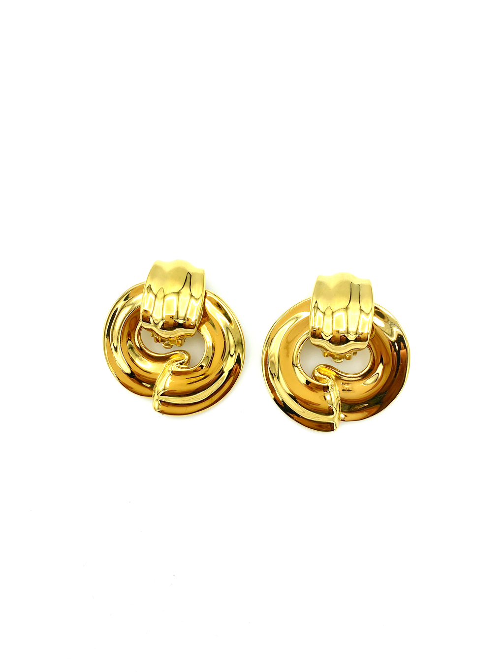 Givenchy Gold Statement Door Knocker Vintage Earrings-Sustainable Fashion with Vintage Style-Trending Designer Fashion-24 Wishes
