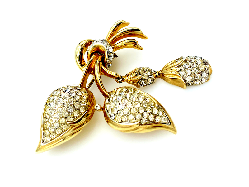 Gold Coro Pegasus Floral Diamante Rhinestone Vintage Brooch-Sustainable Fashion with Vintage Style-Trending Designer Fashion-24 Wishes