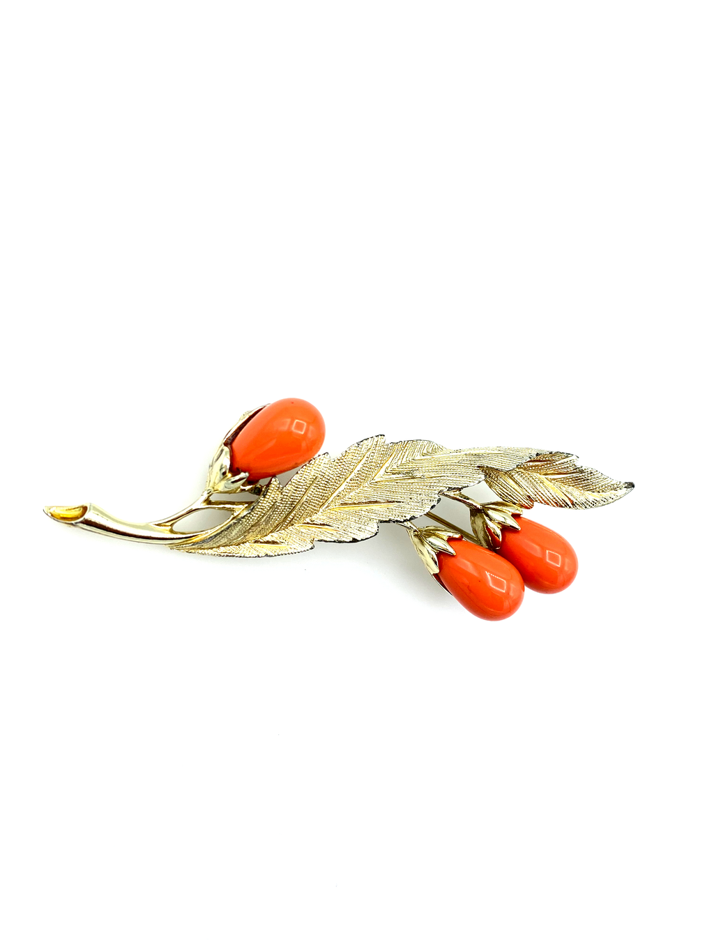 Sarah Coventry Orange Coral Cabochon Floral Vintage Brooch-Sustainable Fashion with Vintage Style-Trending Designer Fashion-24 Wishes