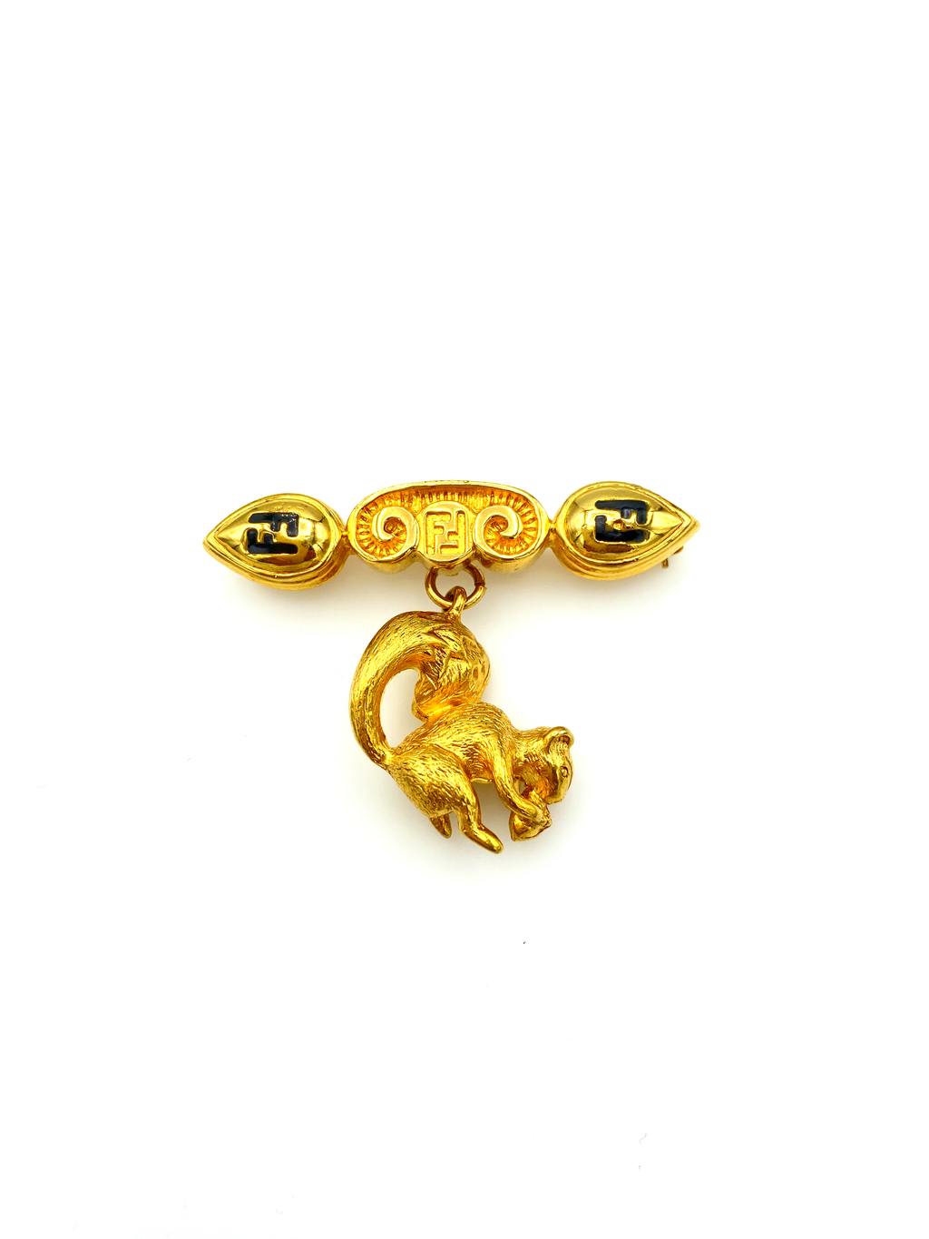 Fendi Iconic Gold Logo Squirrel Charm Vintage Brooch-Sustainable Fashion with Vintage Style-Trending Designer Fashion-24 Wishes