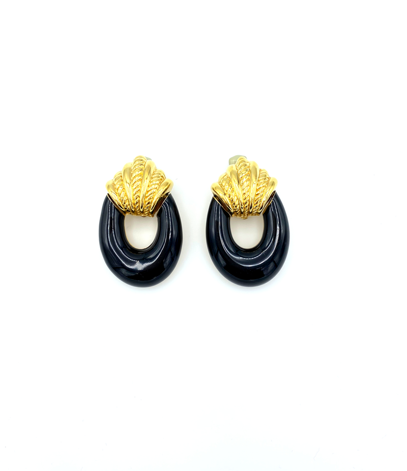 Ciner Gold & Black Enamel Doorknocker Vintage Earrings