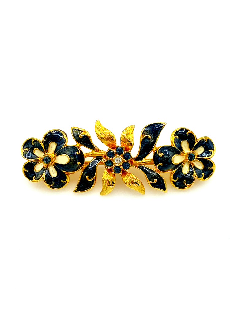 update alt-text with template Joan Rivers Gold Black Enamel Floral Bar Vintage Brooch-Brooches & Pins-Joan Rivers-[trending designer jewelry]-[joan rivers jewelry]-[Sustainable Fashion]