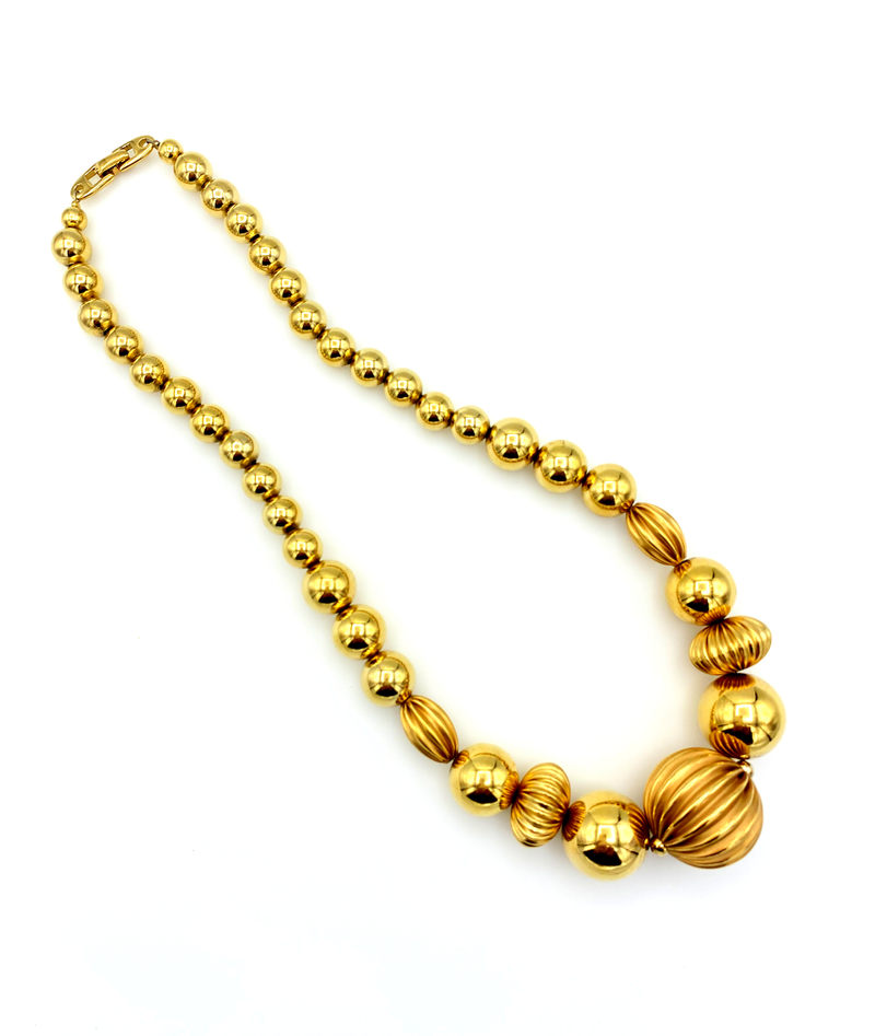 Vintage Napier Chunky Scallop Ball Chain Layering Necklace