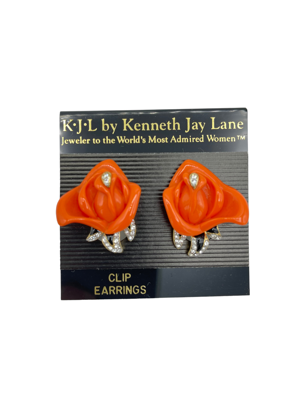 Kenneth Jay Lane Coral Rose & Rhinestone Clip-On Earrings