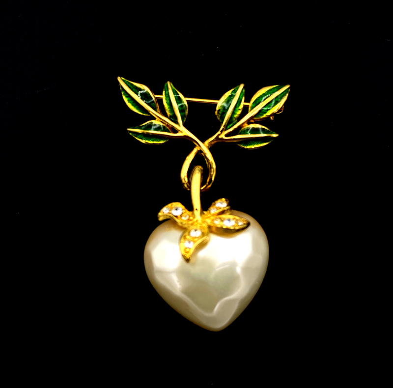 Joan Rivers White Pearl Dangle Heart Floral Vintage Brooch