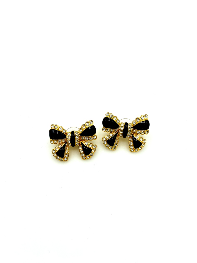 Joan Rivers Enamel & Rhinestone Bow Vintage Pierced Earrings