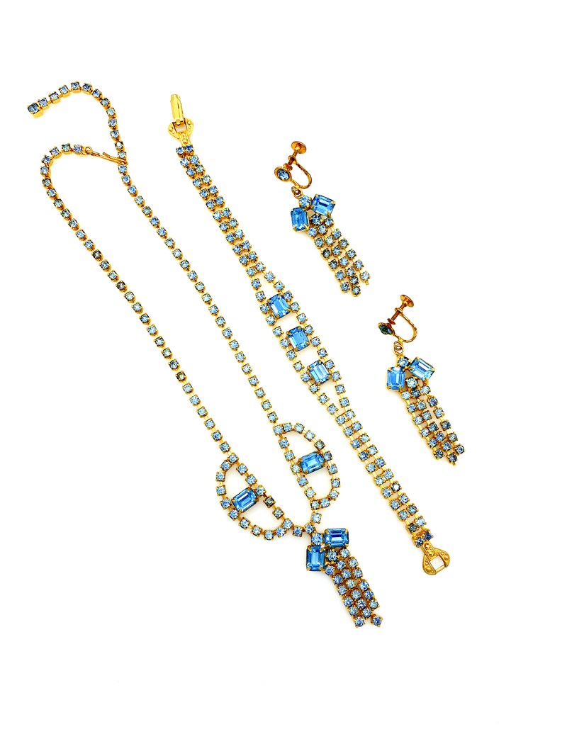 Gold & Light Blue Rhinestone Jewelry Set-Sustainable Fashion with Vintage Style-Trending Designer Fashion-24 Wishes