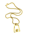 Gold Park Lane Long Snake Chain Abstract Pendant