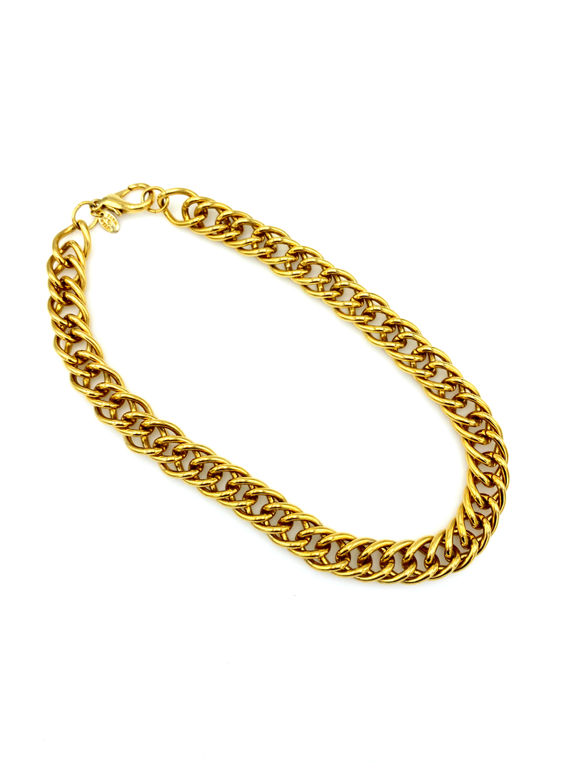Vintage Heavy Link Gold Curb Chain Necklace