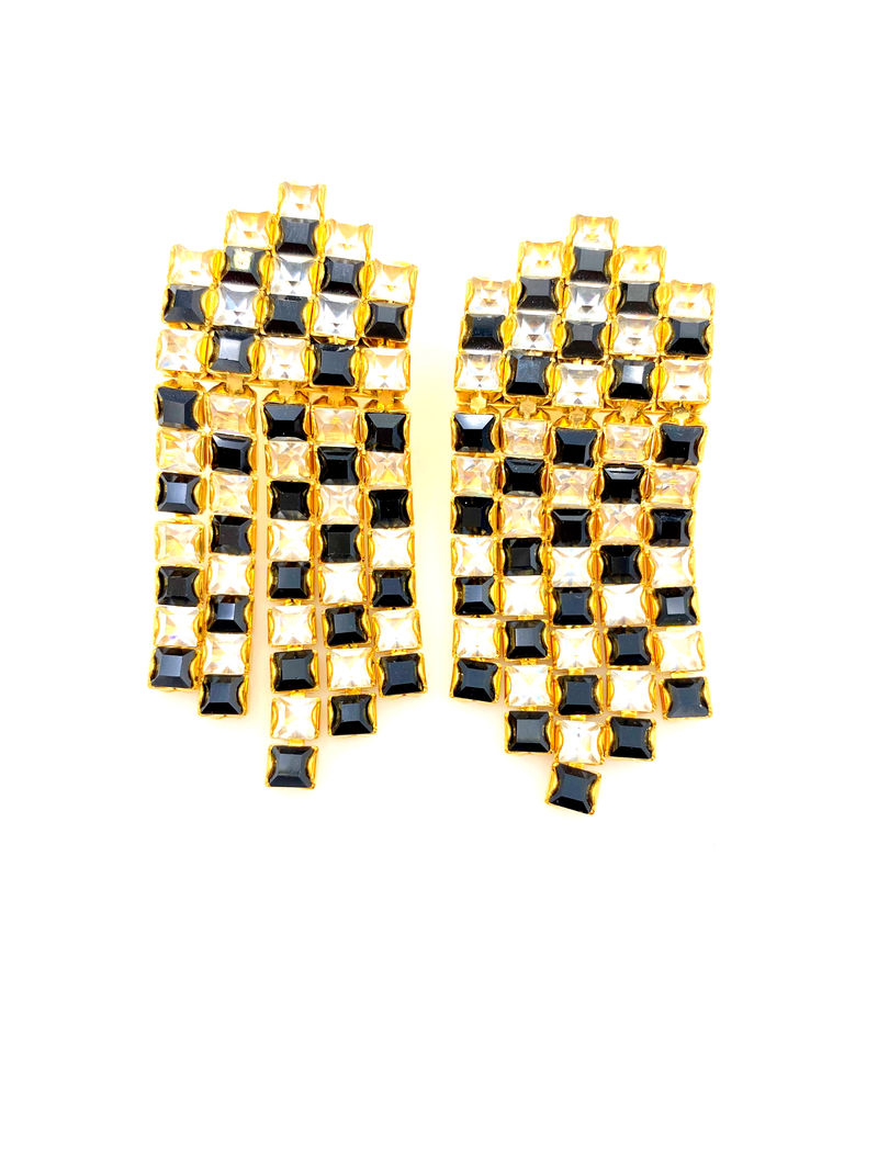 update alt-text with template Monet Black & White Checkerboard Rhinestone Waterfall Clip-On Earrings-Earrings-Monet-[trending designer jewelry]-[monet jewelry]-[Sustainable Fashion]