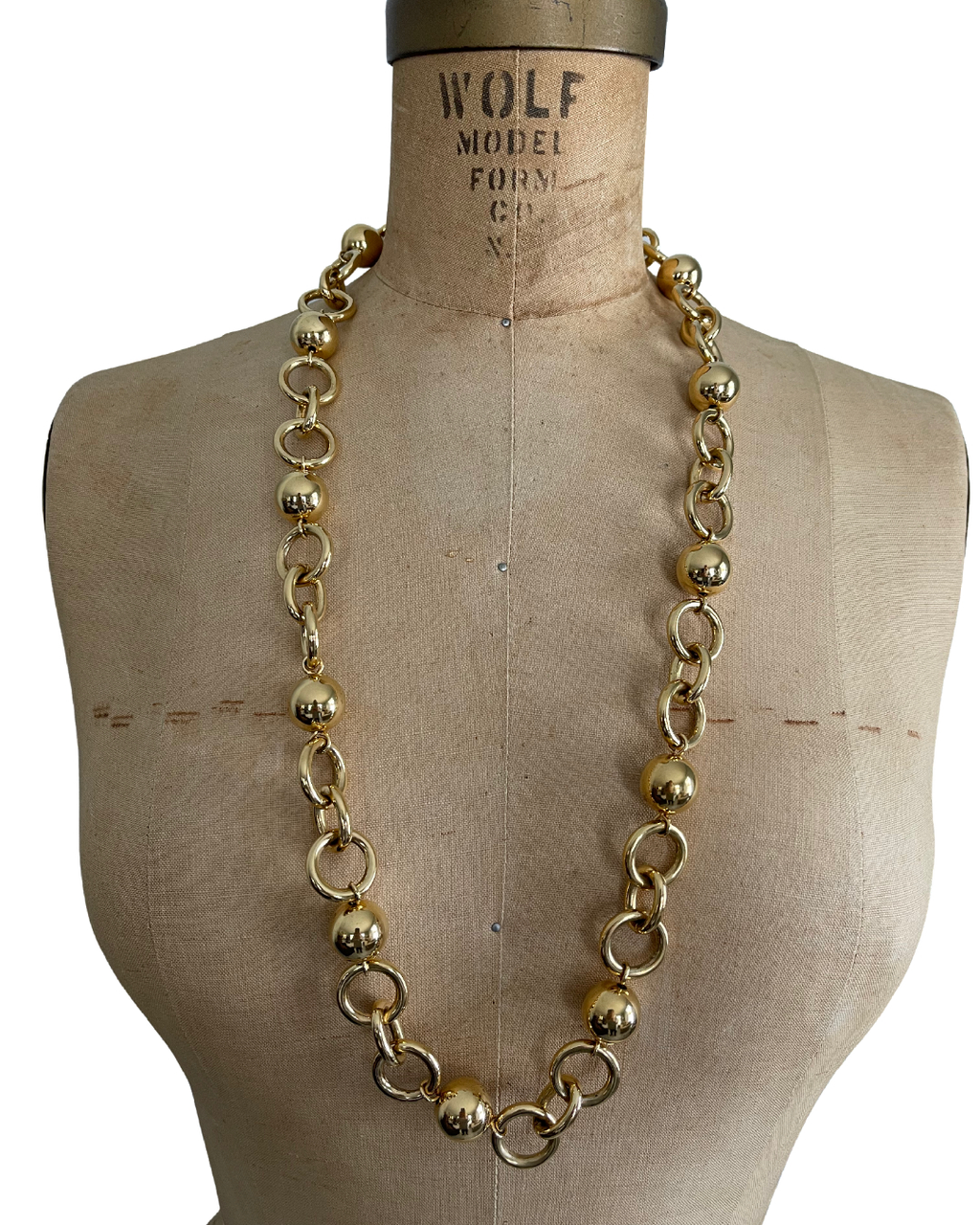 Monet Gold Ball & Link Long Vintage Necklace