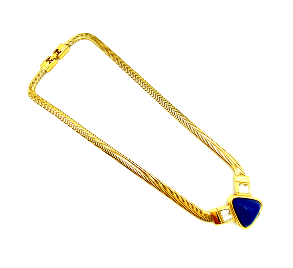 Gold Givenchy Blue Lapis & Rhinestone Pendant-Sustainable Fashion with Vintage Style-Trending Designer Fashion-24 Wishes