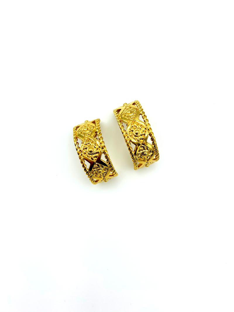 Givenchy Gold Geometric Half Hoop Vintage Earrings