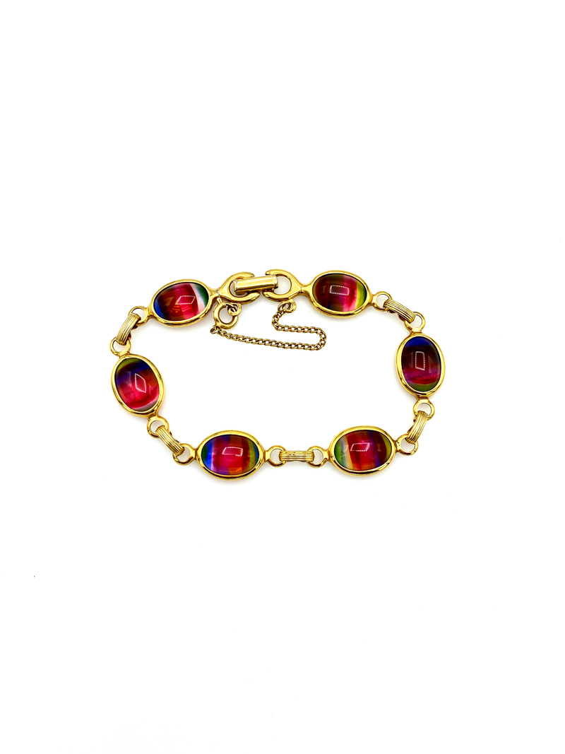 Gold Sarah Coventry Pink to Green Cabochon Vintage Bracelet