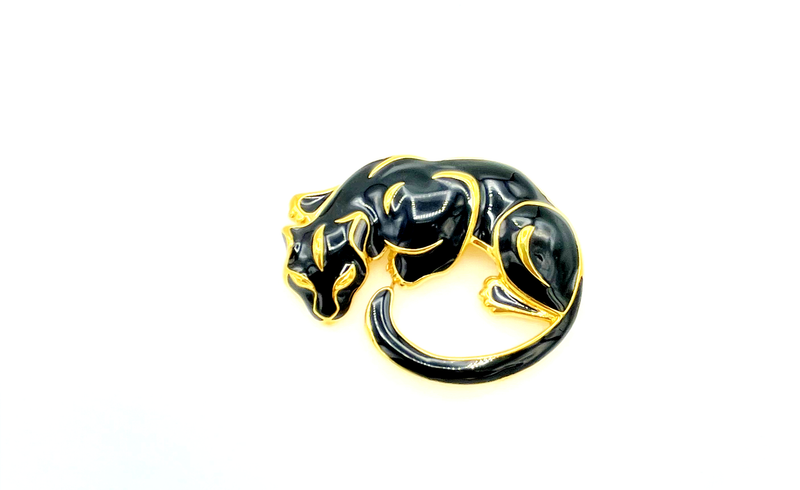 Trafari Black Enamel Panther Vintage Brooch Pin