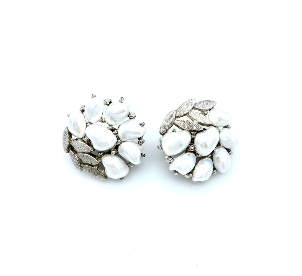 Silver Crown Trifari Pearl & Rhinestone Vintage Earrings-Sustainable Fashion with Vintage Style-Trending Designer Fashion-24 Wishes