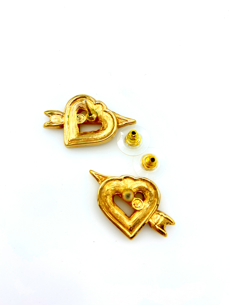 update alt-text with template Gold Swarovski Open Heart Clear Crystal Pierced Earrings-Earrings-24 Wishes-[trending designer jewelry]-[swarovski jewelry]-[Sustainable Fashion]