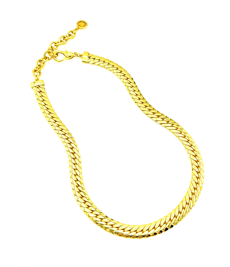 Givenchy Gold Flat Curb Chain Vintage Necklace