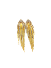 Vintage Gold Long Chain & Rhinestone Fringe Pierced Earrings-Sustainable Fashion with Vintage Style-Trending Designer Fashion-24 Wishes