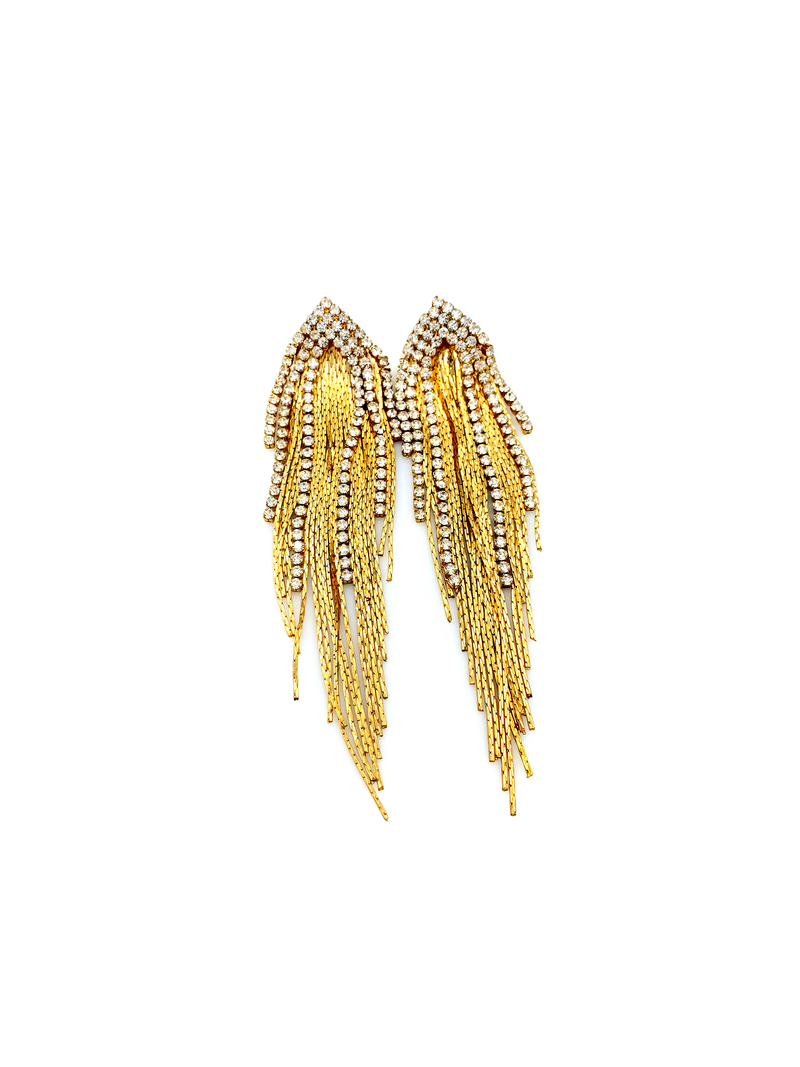 Vintage Gold Long Chain & Rhinestone Fringe Pierced Earrings