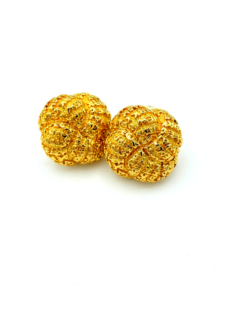 Vintage Gold St. John Classic Earrings-Sustainable Fashion with Vintage Style-Trending Designer Fashion-24 Wishes
