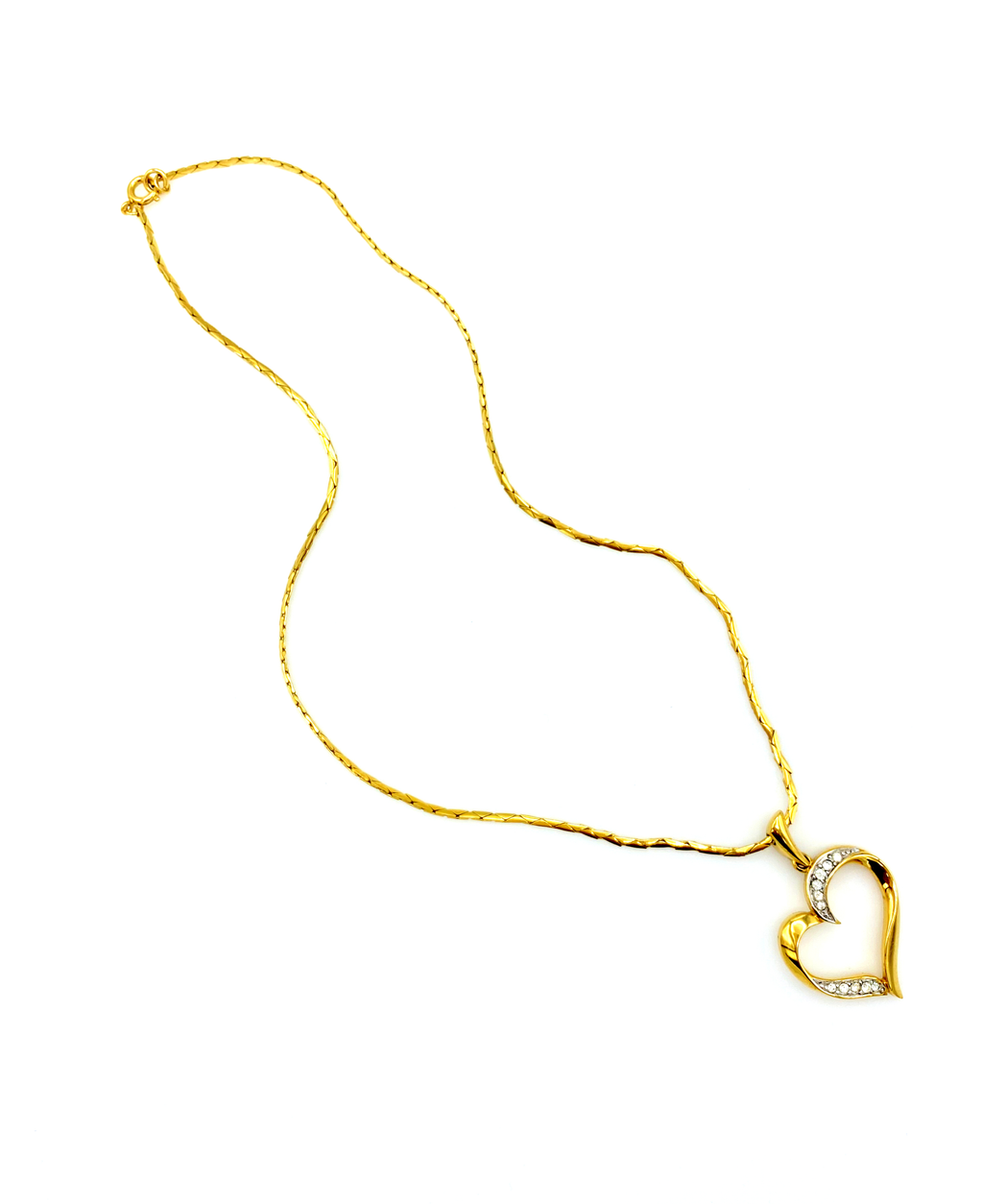 Crown Trifari Open Heart Gold Vintage Pendant-Sustainable Fashion with Vintage Style-Trending Designer Fashion-24 Wishes