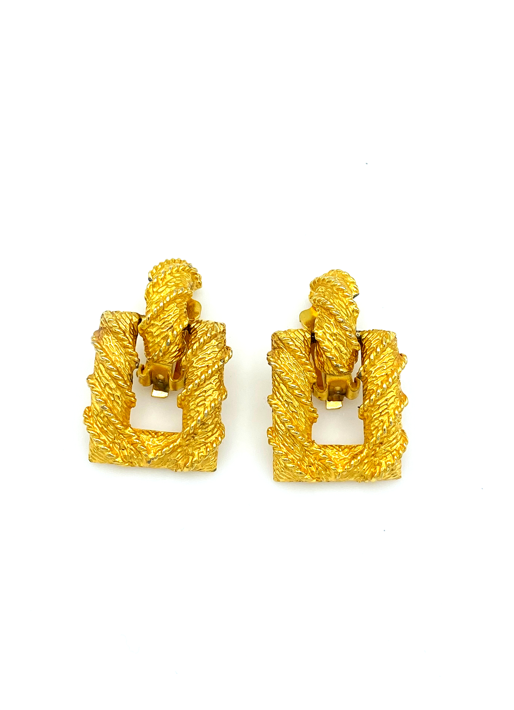 Kenneth Jay Lane Gold Wrapped Door Knocker Vintage Clip-On Earrings-Sustainable Fashion with Vintage Style-Trending Designer Fashion-24 Wishes