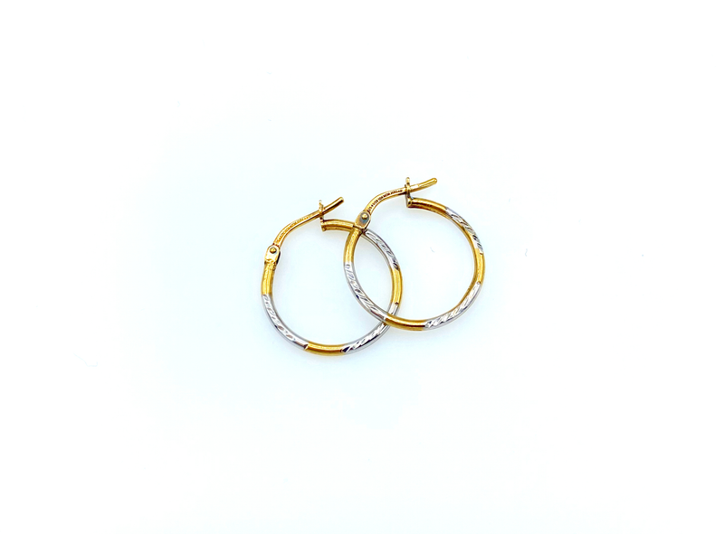 Petite Gold & Silver Vintage Hoop Pierced Earrings