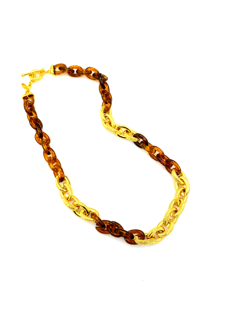 Joan Rivers Gold & Tortoise Shell Link Vintage Necklace