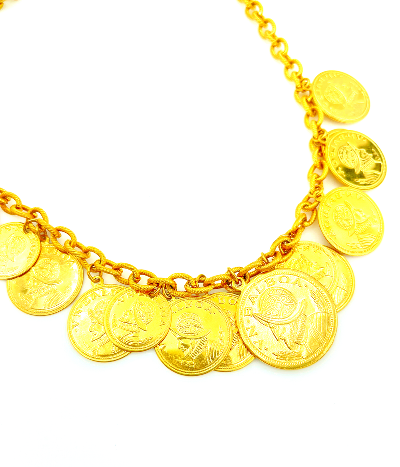 Vintage Gold Large Balboa Coin Charm Pendant