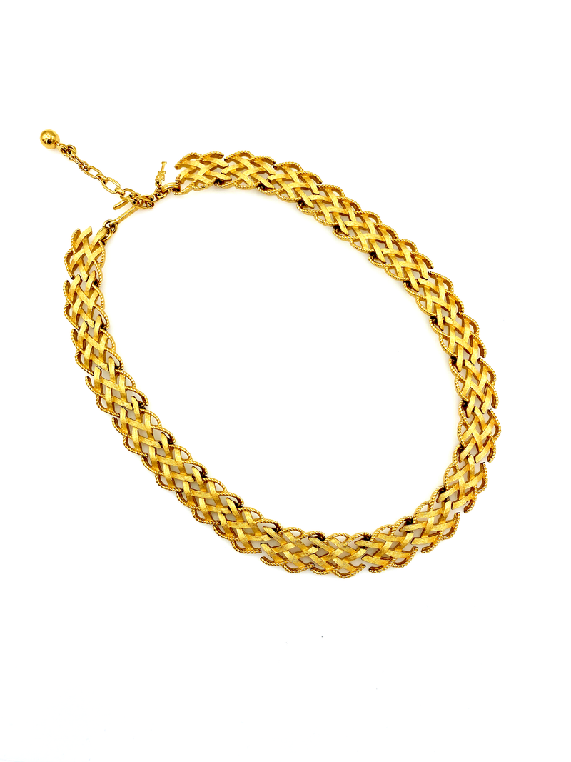 update alt-text with template Trifari Gold Basket Weave Link Necklace-Necklaces & Pendants-Trifari-[trending designer jewelry]-[trifari jewelry]-[Sustainable Fashion]