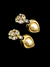 Vintage Christian Dior Pearl & Rhinestone Drop Clip-On Earrings