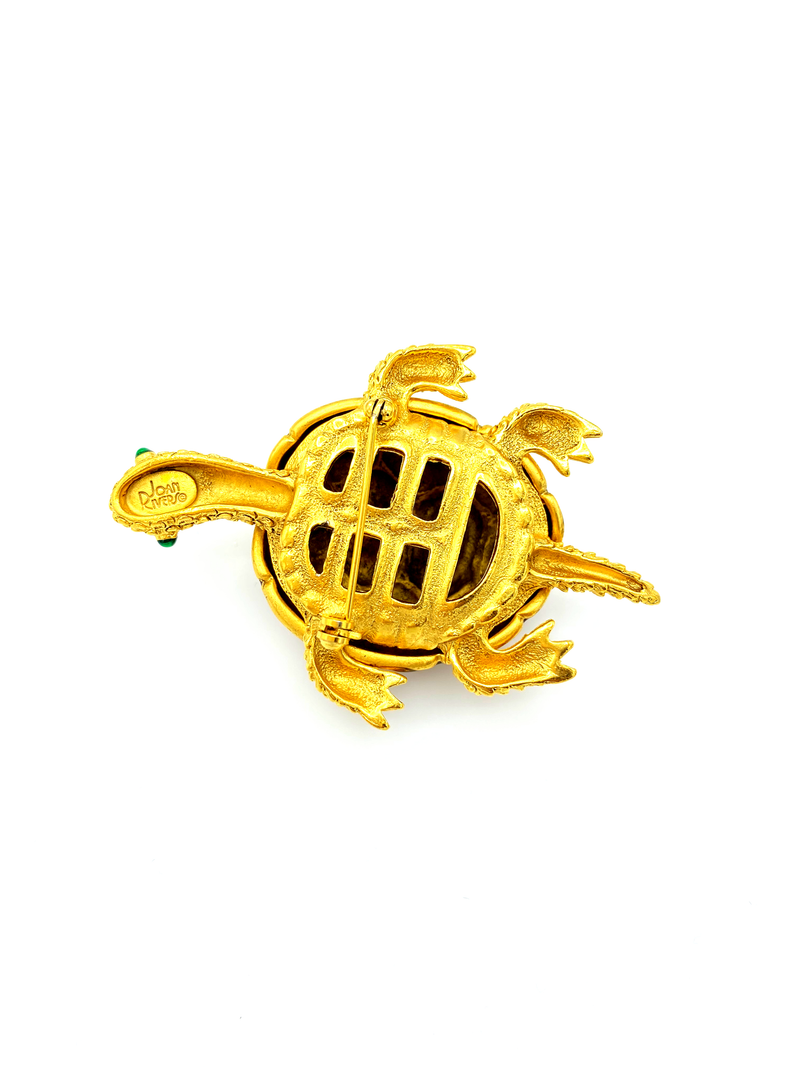 Joan Rivers Brown Enamel & Rhinestone Turtle Vintage Brooch-Sustainable Fashion with Vintage Style-Trending Designer Fashion-24 Wishes