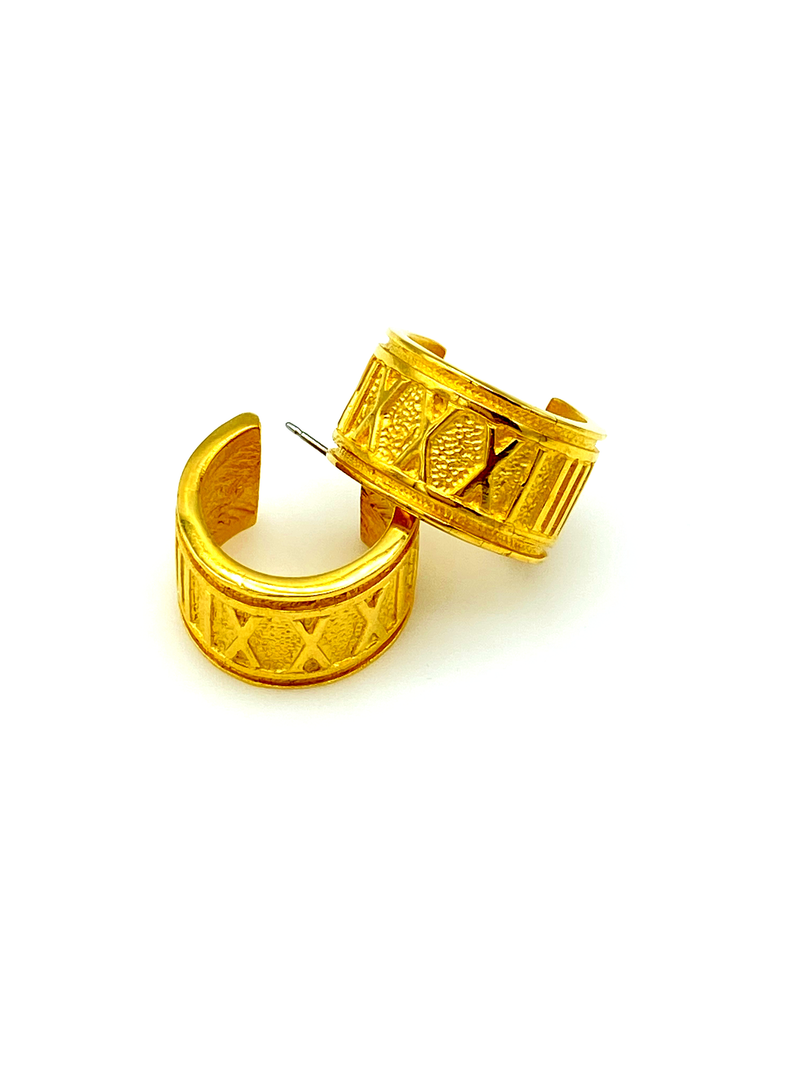 Wide Roman Numeral Hoop Gold Pierced Vintage Earrings