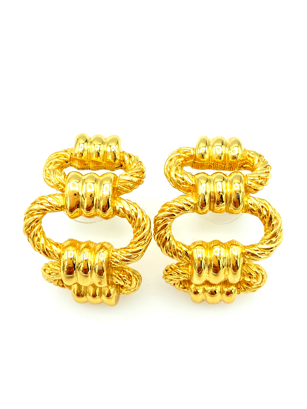 update alt-text with template Christian Dior Gold Chain Link Half Hoop Vintage Pierced Earrings-Earrings-Christian Dior-[trending designer jewelry]-[christian dior jewelry]-[Sustainable Fashion]