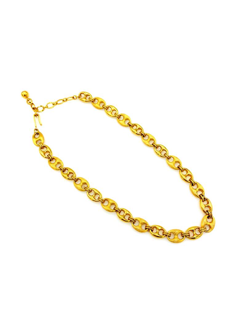Gold Trifari  Layering Mariner Link Chain Necklace