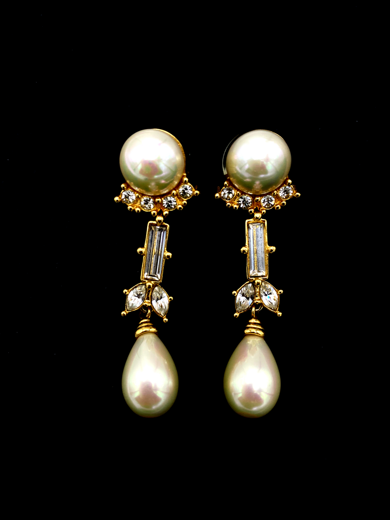 Vintage Christian Dior Pearl Bridal Pierced Earrings